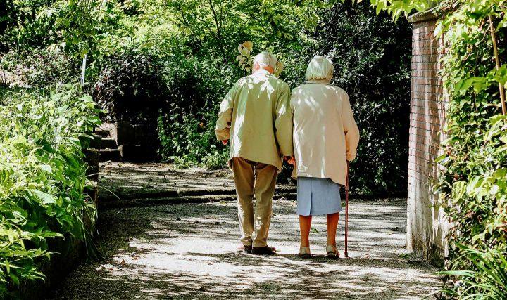 Um casal idoso desfrutando a companhia